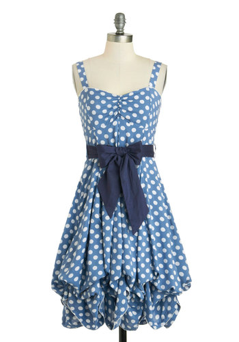 Train Trip Dress - Polka Dots, Steampunk, Vintage Inspired, Long, Summer, Blue, White, Belted, Party, A-line, Tank top (2 thick straps), Sweetheart
