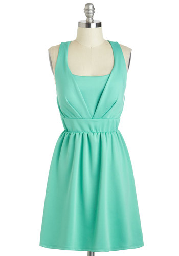 Spearmint Condition Dress - Short, Mint, Solid, Bows, Daytime Party, A-line, Tank top (2 thick straps), Scoop, Pastel, Graduation, Summer