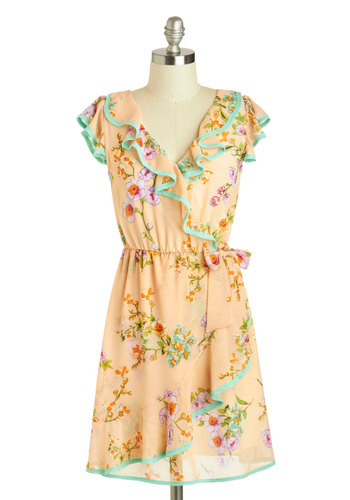 Sweet Streams Dress - Mid-length, Cream, Multi, Floral, Bows, Ruffles, Daytime Party, A-line, Cap Sleeves, V Neck, Spring