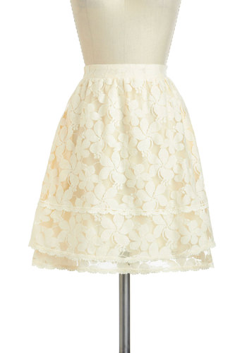 Plumeria of Expertise Skirt - Mid-length, Cream, Lace, Work, Daytime Party, A-line, Graduation, Spring