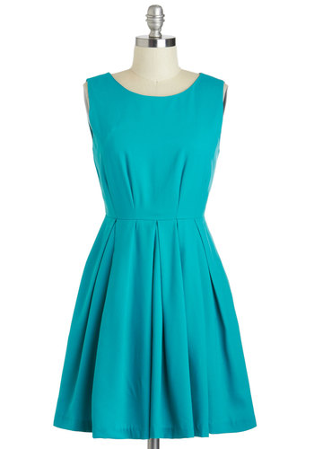 Laguna Speech Dress - Short, Blue, Solid, Pleats, Pockets, Party, A-line, Sleeveless, Scoop, Summer