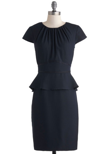 Fabulous Factotum Dress - Mid-length, Blue, Solid, Exposed zipper, Work, Peplum, Cap Sleeves, Crew, Pinup, Vintage Inspired
