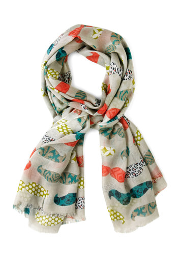 Dapper Prints Scarf - Cream, Multi, Novelty Print, Quirky, Cotton