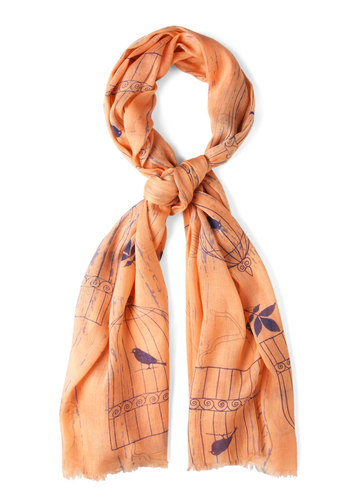 Put a Birdcage on It Scarf - Orange, Blue, Print with Animals, Cotton, Winter