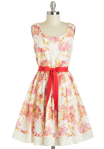 Boston in Bloom Dress - Cotton, Mid-length, Cream, Multi, Floral, Pleats, Belted, Daytime Party, Fit & Flare, Tank top (2 thick straps), Scoop, Wedding, Vintage Inspired, Bridesmaid, Graduation
