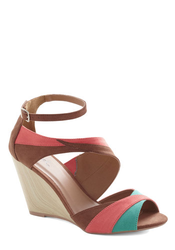 Sun and Sandalwood Wedge - Tan, Blue, Colorblocking, Wedge, Mid, Coral, Party, Daytime Party, Vintage Inspired, 70s, Peep Toe, Summer