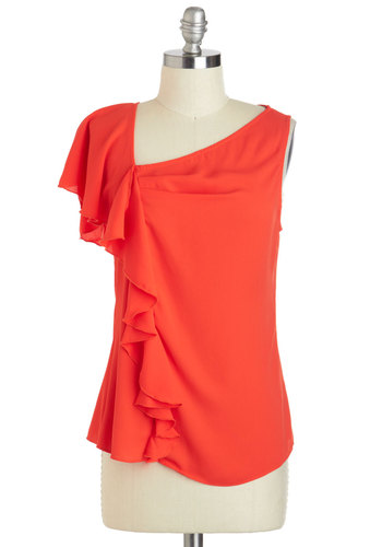 Take a Piquant Top - Sheer, Mid-length, Red, Solid, Ruffles, Work, Sleeveless, Daytime Party