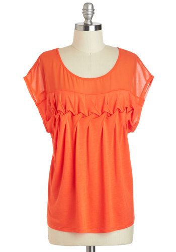 Braid for Each Other Top - Cotton, Sheer, Mid-length, Orange, Solid, Casual, Short Sleeves, Scoop, Summer