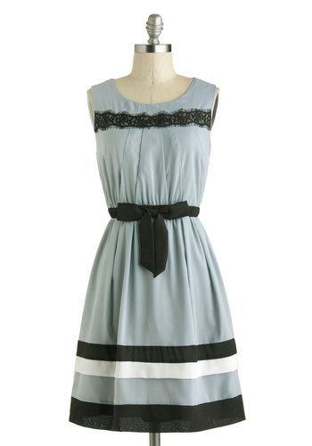 Granite Entrance Dress - Blue, Black, White, Bows, Lace, Belted, Party, A-line, Tank top (2 thick straps), Scoop, Mid-length