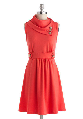 Coach Tour Dress in Raspberry - Mid-length, Coral, Solid, Buttons, Pockets, Casual, A-line, Sleeveless, Cowl, Mod, Basic, Exclusives, Top Rated