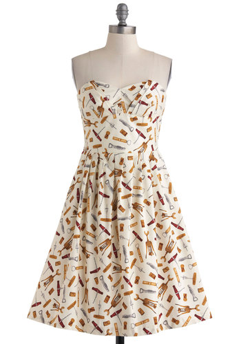In Vino Veritas Dress - Exclusives, Cotton, Cream, Multi, Novelty Print, Pockets, Fit & Flare, Strapless, Sweetheart, Pleats, Daytime Party, Long