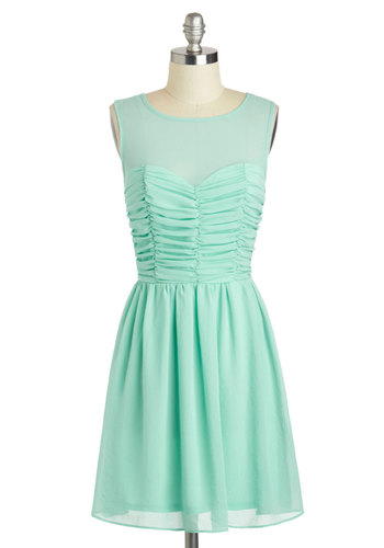 Curtain Calm Dress - Mid-length, Mint, Solid, Ruching, Party, A-line, Sleeveless, Scoop, Pastel, Prom