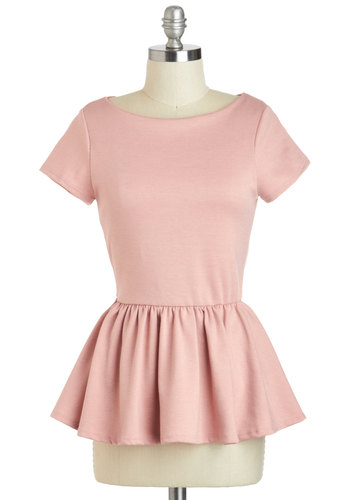 New Girl Courage Top in Rose - Mid-length, Pink, Solid, Work, Peplum, Short Sleeves, Variation