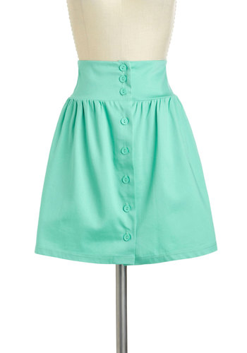 Take the A-line Skirt in Mint - Mint, Solid, Buttons, Casual, Daytime Party, A-line, Short