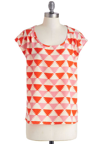 It's All Falling Into Shape Top - Orange, White, Short Sleeves, Sheer, Mid-length, Multi, Pink, Print, Summer