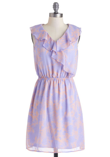 Mum Away With Me Dress - Mid-length, Purple, Coral, Ruffles, A-line, Sleeveless, V Neck, Floral, Pastel, Summer, Daytime Party