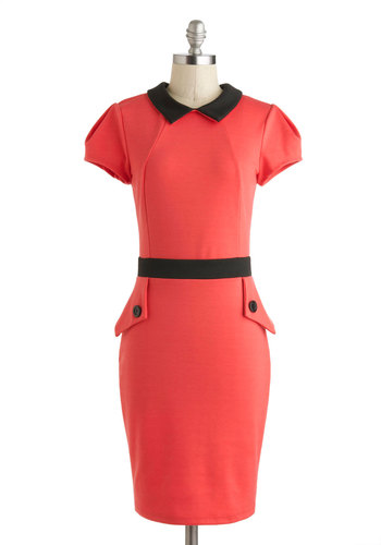 Watermelon Fresca Dress - Mid-length, Red, Black, Solid, Buttons, Work, Shift, Short Sleeves, Collared, Exposed zipper, Summer