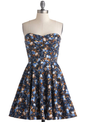 Traveling Cupcake Truck Dress in Navy Florals - Cotton, Blue, Multi, Floral, Fit & Flare, Strapless, Sweetheart, Daytime Party, Spring, Variation, Graduation, Short