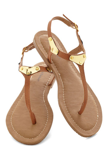 Gold It Together Sandal - Tan, Gold, Flat, Faux Leather, Casual, Summer, Beach/Resort
