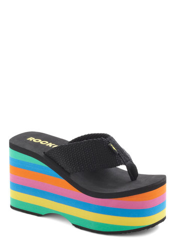 Sol Long Sandal - Black, Multi, Stripes, Statement, Summer, High, Platform, Wedge, Casual, Beach/Resort, Vintage Inspired, 90s