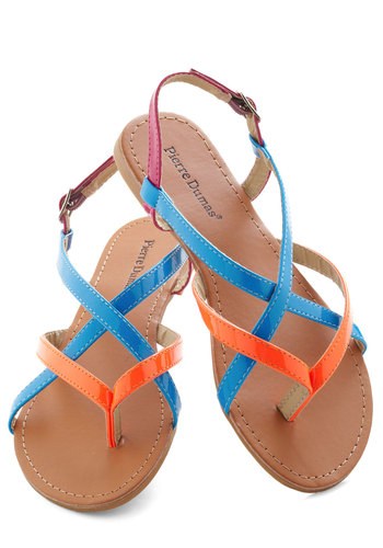 Neon Your Way Sandal in Miami - Multi, Beach/Resort, Summer, Flat, Orange, Blue, Pink, Casual, Neon, Faux Leather, Strappy, Variation