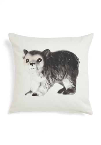 Adorn Your Den Pillow - White, Black, Print with Animals, Dorm Decor, Quirky