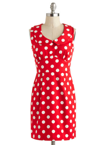 The Cherry on Dot Dress - Cotton, Short, Red, White, Polka Dots, Peter Pan Collar, Casual, Shift, Sleeveless, Vintage Inspired, Scoop