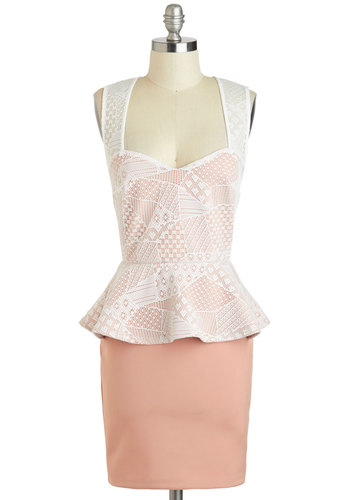 Patchwork Fields Dress - Short, Pink, White, Lace, Daytime Party, Peplum, Tank top (2 thick straps), Sweetheart, Party