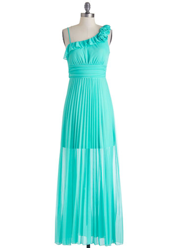 Certain Je ne Sais Aqua Dress - Long, Blue, Solid, Flower, Ruffles, Party, Maxi, One Shoulder, Formal, Prom