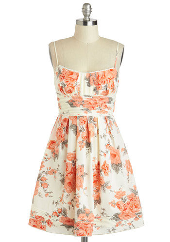 What Friends Are Floral Dress - Cream, Multi, Floral, Pleats, Daytime Party, Fit & Flare, Spaghetti Straps, Sweetheart, Graduation, Spring, Summer