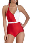 Splice of Life One Piece in Red by Esther Williams - Red, White, Solid, Belted, Beach/Resort, Vintage Inspired, 70s, Colorblocking, Halter, Summer, Pinup, Variation, Nautical
