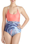 Behind the Seas One Piece by Tallow - Red, Multi, Novelty Print, Summer, Beach/Resort, International Designer
