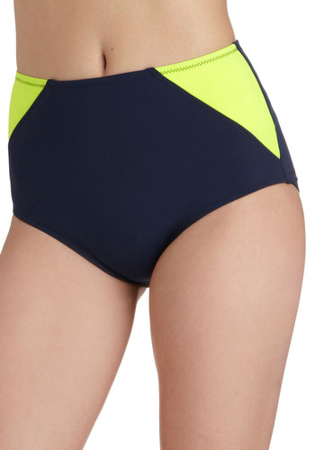 Wake Up Wakeboard Swimsuit Bottom - Blue, Yellow, Solid, Summer, Beach/Resort, Neon, Colorblocking, High Waist