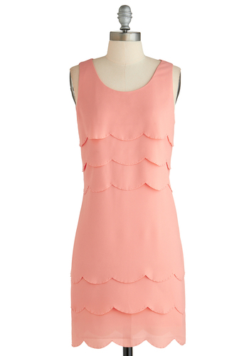 We'll Have a Ballroom Dress - Mid-length, Pink, Solid, Beads, Scallops, Tiered, Party, Shift, Tank top (2 thick straps), Scoop, Pastel