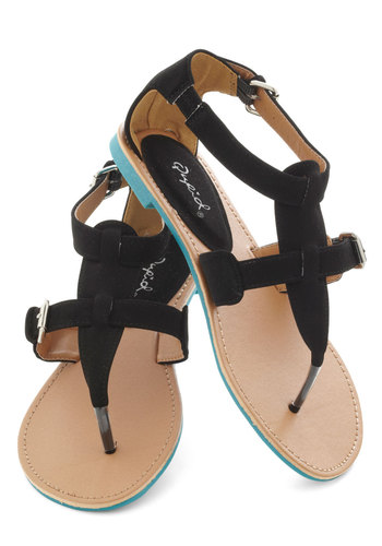Travel Blogger Sandal in Black - Black, Solid, Buckles, Summer, Flat, Travel
