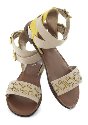 Longer Days Sandal - Tan, Yellow, Cutout, Summer, Flat, Casual, Beach/Resort, Faux Leather