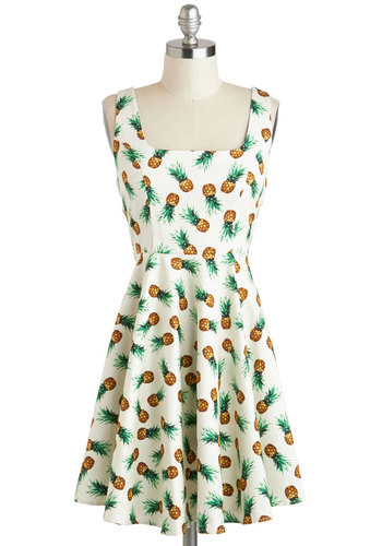 Afternoon at the Oasis Dress in Pineapples - Green, Brown, Novelty Print, Casual, Fruits, A-line, Tank top (2 thick straps), Cotton, Summer, Mid-length