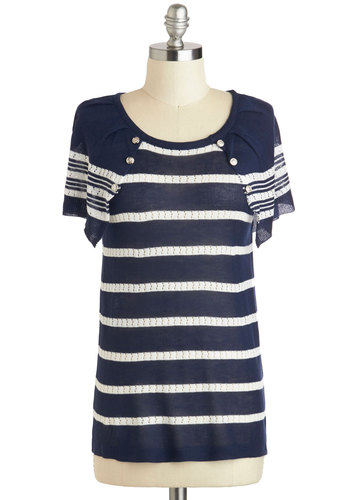 Cape What You May Top - Blue, White, Stripes, Buttons, Work, Nautical, Short Sleeves, Mid-length, Travel