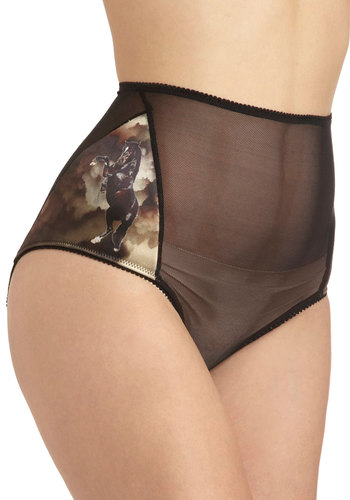 Hip to Be Mare Briefs - Black, Multi, High Waist, Print with Animals, Sheer, Boudoir