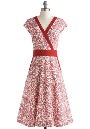 An Enchanted Evening Dress in Woodblock - Red, White, Print, Pockets, Casual, Fit & Flare, Cap Sleeves, V Neck, Long, Exclusives