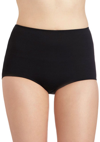 Softly Lulled Undies in High-Waisted - Black, Solid, Vintage Inspired, 50s, High Waist, Film Noir, Pinup, 40s