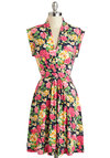 Once and Floral All Dress by Louche - Mid-length, Multi, Floral, Daytime Party, A-line, Cap Sleeves, V Neck