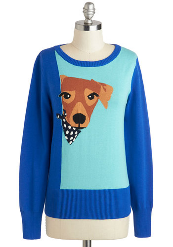 You Lucky Dog Sweater by Louche - Print with Animals, Blue, Brown, Casual, Quirky, Long Sleeve, Winter