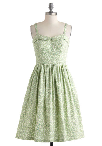 Have a Nice Daisy Dress by People Tree - International Designer, Cotton, Long, Green, White, Floral, Pockets, Daytime Party, A-line, Spaghetti Straps, Sweetheart, Eco-Friendly, Spring