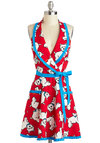 East, Westie, Home's Best Apron - Red, Blue, White, Pockets, Cotton