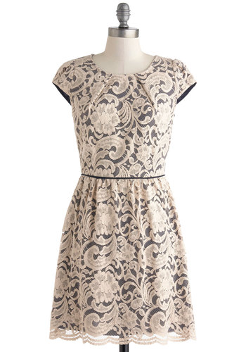 Close the Lace Down Dress - Cream, Lace, Daytime Party, A-line, Cap Sleeves, Scoop, Wedding, Party, Vintage Inspired, Fairytale, Mid-length, Blue