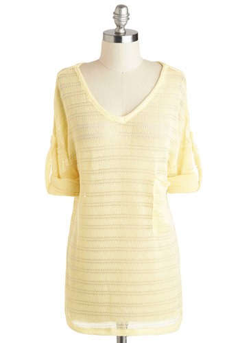 Flight Cabin Sweater in Day - Mid-length, Yellow, Solid, Pockets, Casual, V Neck, Variation, Long Sleeve, Travel