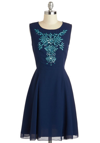 Quite a Gemini Dress - Mid-length, Blue, Rhinestones, Sequins, Party, A-line, Sleeveless, Scoop, Cocktail, Prom