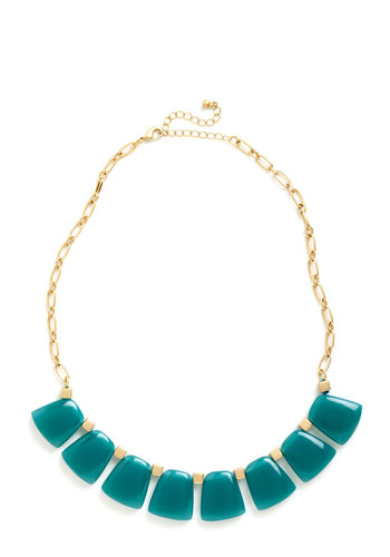 Skip a Stone Necklace - Blue, Gold, Solid, Yellow, Daytime Party