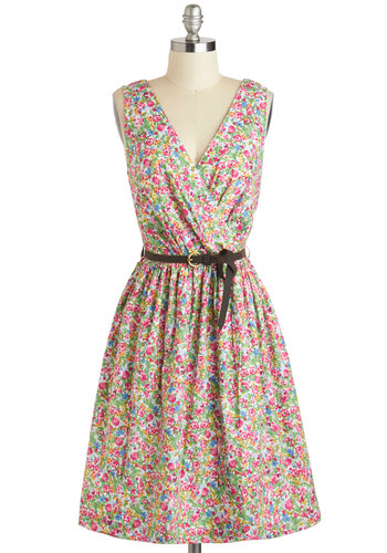 Refreshing Rendezvous Dress - International Designer, Mid-length, Multi, Floral, Belted, Daytime Party, A-line, Sleeveless, V Neck, Eco-Friendly